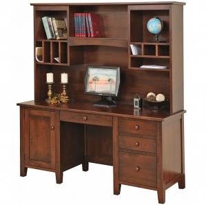 Manhattan Computer Amish Desk with Amish Hutch Option
