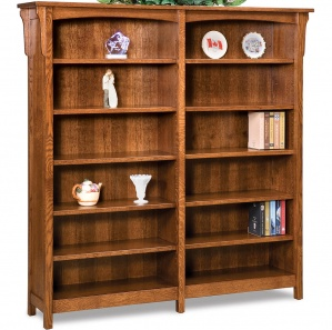 Bridger Mission 10 Shelf Double Amish Bookcase