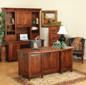 Henry Stephen's Amish Office Furniture Set with Hutch Option