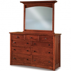 Kascade 9 Drawer Amish Dresser with Mirror Option