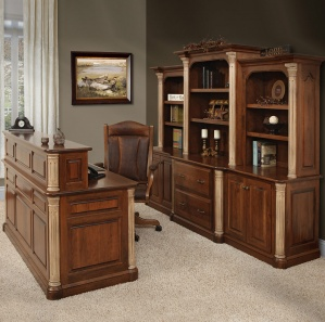 Jefferson Office Furniture Set with Optional Cubby, Hutch & Stone Finished Posts