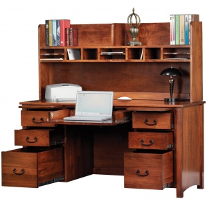 """Rivertowne 60"""" Amish Desk with 6 Drawers & Optional Hutch"""