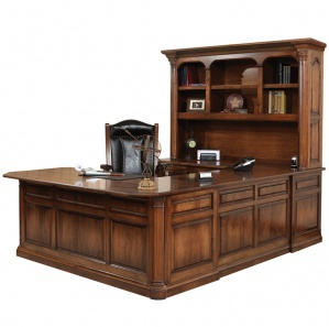 Jefferson U Shaped Amish Desk with Hutch Option