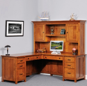 Coventry Executive Corner Computer Desk & Optional Amish Hutch
