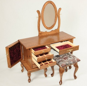 """42"""" Queen Anne Jewelry Dressing Table with Mirror and Stool"""