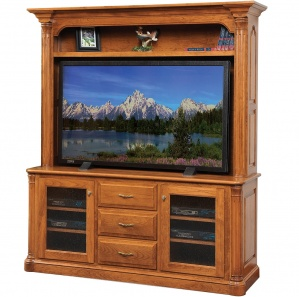 Jefferson Amish TV Stand with Hutch Option