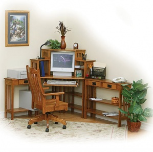 Meadowbrook Corner Computer Desk with Hutch & Side Tables