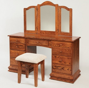 """56"""" Deluxe Clock Base Dressing Table with Mirror and Stool"""