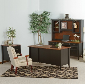 Horizons Deluxe Amish Office Furniture Set & Optional Hutch