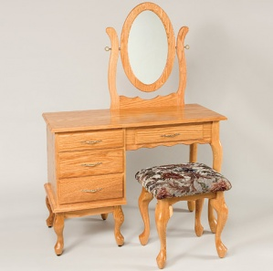 """42"""" Queen Anne 4 Drawer Dressing Table with Mirror and Stool"""