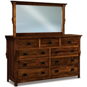 Stick Mission Wide 9 Drawer Amish Dresser with Mirror Option