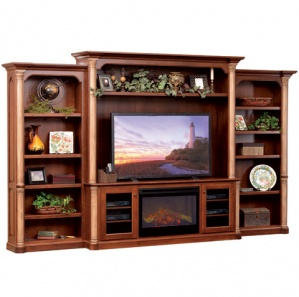 Jefferson Amish Entertainment Center with Fireplace