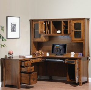 Woodbury Executive Computer L Desk & Optional Hutch