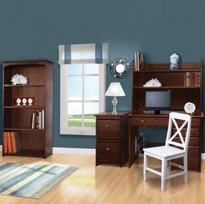 Merit Office Furniture Set & Optional Sliding Bookend Hutch