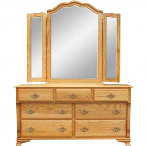 Wrap Around 7 Drawer Dresser & Optional Mirror
