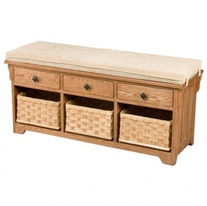Lattice Weave Amish Bench with Drawers & Baskets