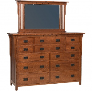 College Hill 12 Drawer Amish Dresser & Optional Mirror