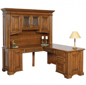 Lincoln L Shaped Amish Desk & Optional Hutch