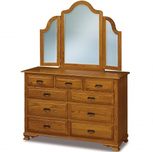 Heritage Hill 9 Drawer Amish Dresser with Mirror Option