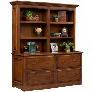 Liberty Double Lateral Amish File Cabinet with Bookshelf Option