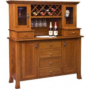 Brookhurst Amish Buffet & Optional Wine Rack Hutch