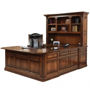 Lexington U Shaped Amish Desk with Hutch Option