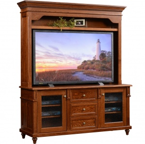 Bridgeport Amish TV Stand with Hutch Option