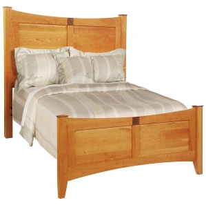 Providence Panel Amish Bed with Walnut Caps