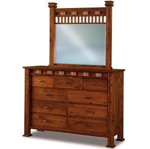 Sequoyah 9 Drawer Tall Amish Dresser with Mirror Option