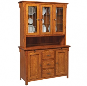 Kieran Buffet & Optional Leaded Glass Hutch