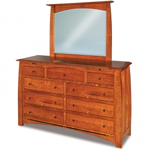 Boulder Creek Amish Dresser with Arched Drawer and Mirror Option