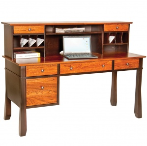 Craftsman Computer Desk With Optional Flared Legs & Hutch