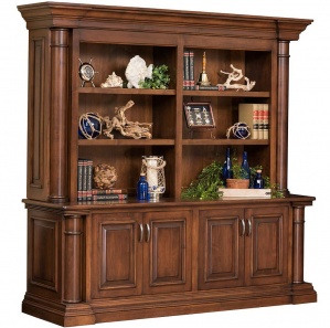 Paris Office Amish Cabinet with Hutch Option