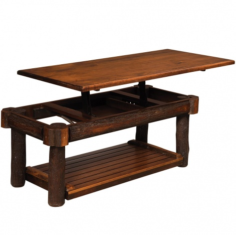 Amish Hickory Tables Hickory Lift Top Coffee Table Rustic Home Accents