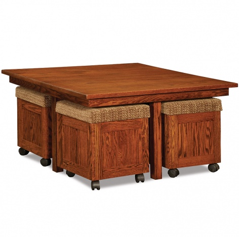 Oakdale Convertible Amish Coffee Table With Ottomans Cabinfield Fine Furniture