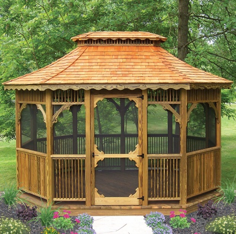 Victorian pine octagon and oval garden or patio large for Large gazebo kits