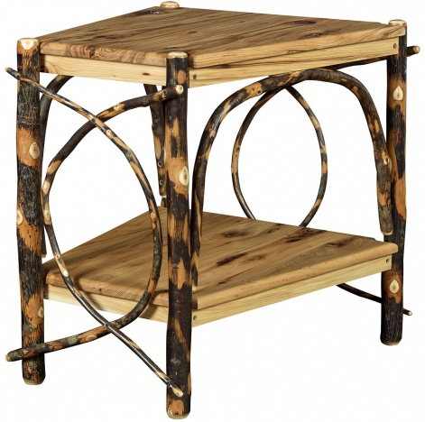 Allegheny Wedge Shaped Amish End Table Log Furniture