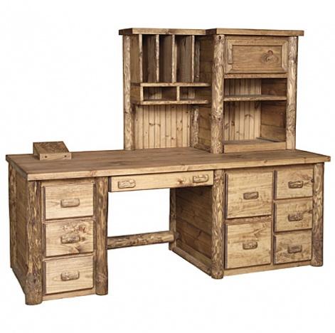 amish log office desks elkhorn vista desk handmade