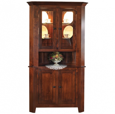 Amish mission style hutches settler 39 s ridge corner hutch for Mission style corner hutch