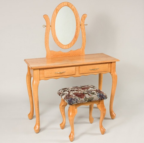 """42"""" Queen Anne 2-Drawer Dressing Table with Mirror and Stool"""