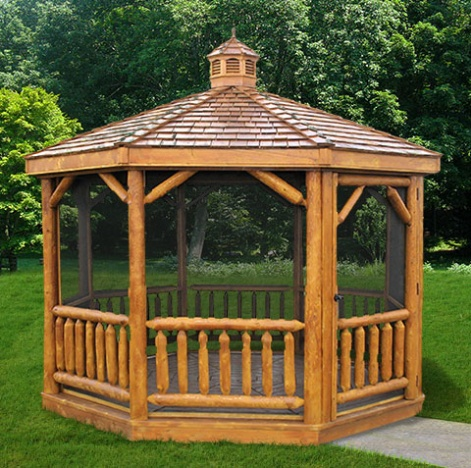 Cedar Log Octagon Garden Gazebo Kits In 8 39 18 39 Small To