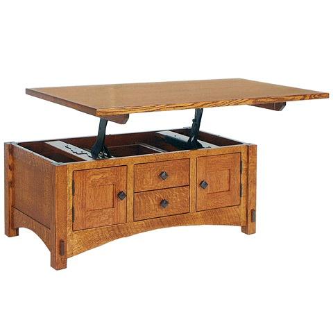 Lift Top Coffee Table Solid Wood Coffee Table Amish Handmade Craftsman Mccoy
