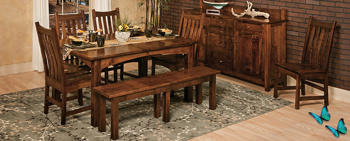 Bostonian Farmhouse Table Amish Dining Chairs Sideboard Tinley Park Series
