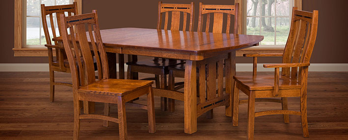 Amish Dining Room Tables & Chairs Sets – Mission Style ...