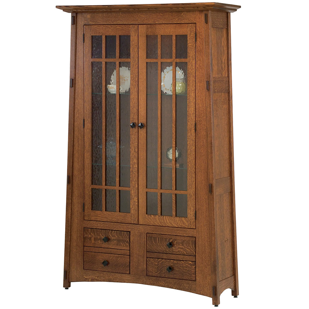 Mccoy Full Mullion Door Water Glass Bookcase Cabinet