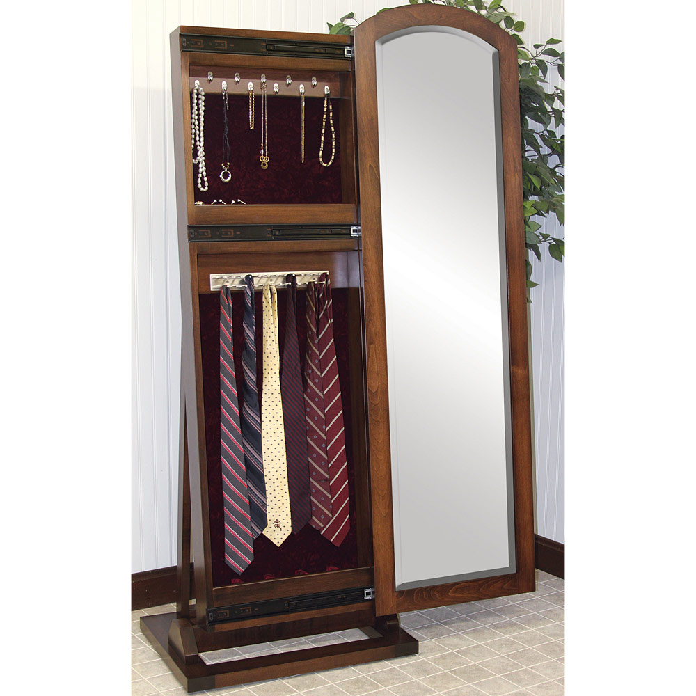 Beveled Mirror with Jewelry Organizer Storage and Tie Rack