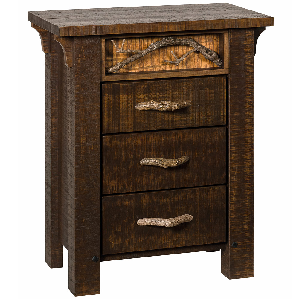 Rustic 3 drawer nightstand handmade solid wood tall for Tall rustic nightstands
