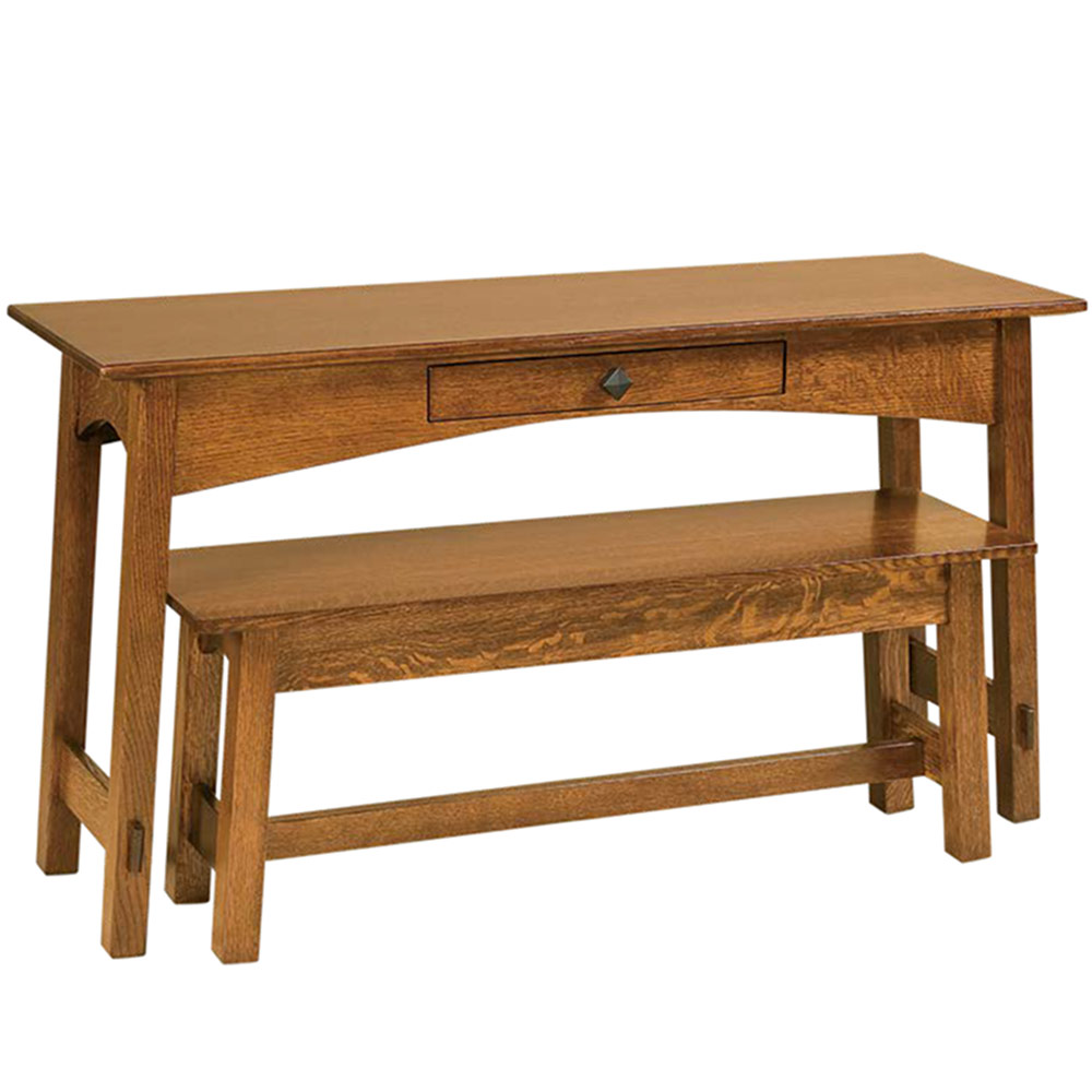 Nesting table and bench option console table amish arts for Arts and crafts sofa table