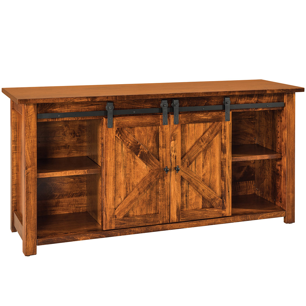 Rustic console wood sofa table with storage tall side