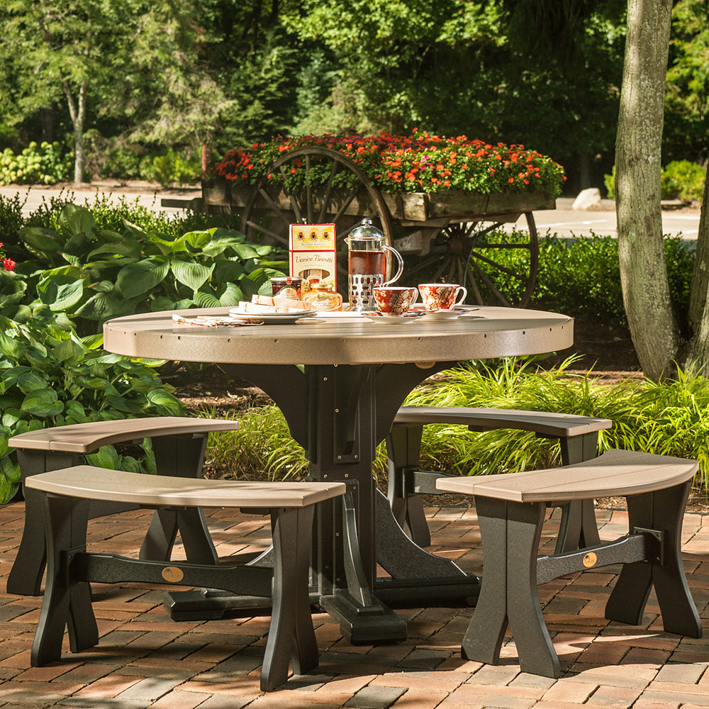 Groovy Brookview Round Amish Picnic Table Set Andrewgaddart Wooden Chair Designs For Living Room Andrewgaddartcom